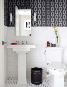 Neat Powder Room with Ann Sacks tile