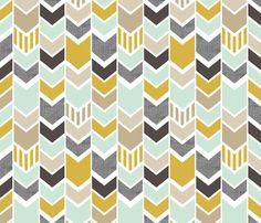 Mint Gold Chevron fabric by mrshervi on Spoonflower - custom fabric
