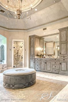 love this master bath Segreto did the plaster and cabinet finishes for designer Kara Childress!!