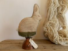 OOAK Original Primitive Punch Needle Easter Rabbit Make Do | eBay