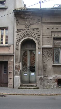 Belgrade, Serbia ~ Zemun District. Amazing doorway - Art Nouveau, i think ?