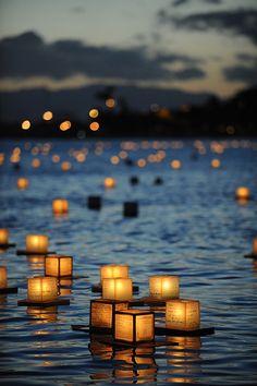 Lantern floating memorial ceremony, Ala Moana Beach, Hawaii