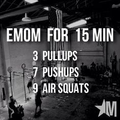 15 Minute EMOM Workout ~ Working up to the Murph Challenge Murph Workout, Amrap Workout, Calisthenics Workout, Tabata, Crossfit Workouts At Home, Crossfit Leg Workout, Nike Workout, Workout Programs, Challenge