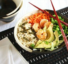 Inspired Edibles: Chirashi Sushi (Scattered Sushi Bowl) with brown rice, shredded cabbage and edamame