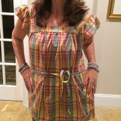Day dress or tunic Awesome versatile piece in fun spring summer plaid. Yellow, red and teal in 100% soft cotton! OP Tops Tunics