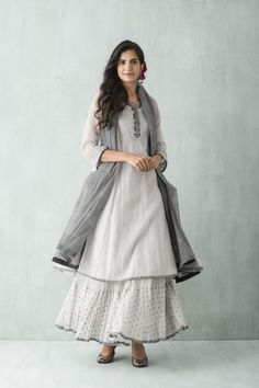 ensemble-2 #light #grey #cloudy #skirt #kurti