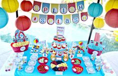 How great is this pool party dessert table!