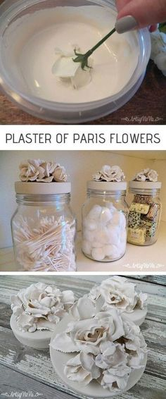 Plaster of Paris Flowers -- DIY craft projects for adults and teens! This is a super fun idea for plaster of paris. What a creative home decor idea! A great use for old jars. #artsandcraftsshop,