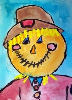 Scarecrow painting. Focus on simple shapes, warm colors with cool accents, brush strokes embellishments.