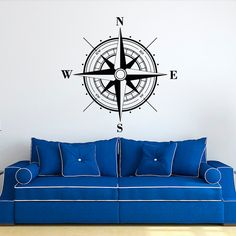 Nautical Compass Rose Wall Decal- Nautical Wall Decor North South West East- Compass Rose Wall Decals For Living Room Bedroom Office  Approximate