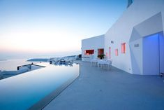 Santorini Greece. Combination of Modern and traditional Greek architecture