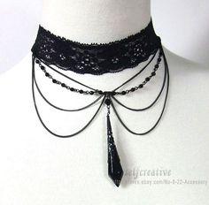Drop Pendant Lace Necklace