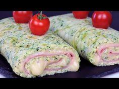 Rollo de calabacín relleno de jamón y queso Keto, Paleo, Kiss The Cook, Empanadas, Sin Gluten, Crepes, Tapas, Sushi, Food And Drink
