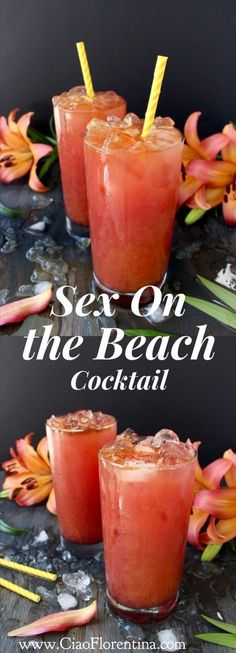 Summer smoothies A tropical marriage of orange and cranberry juices, vodka with a hint of peach and vanilla float over ice, your ultimate Sexy cocktail! Beach Cocktails, Summer Drinks, Cocktail Drinks, Cranberry Cocktail, Beach Party Drinks, Cocktail Mix, Cocktail Ideas, Sex On The Beach Cocktail Recipe, Sex On The Beach Recipe