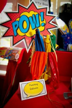 A superhero punching balloon station is a great addition to any superhero party!