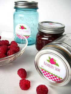 Gingham Raspberry Canning jar labels round red cottage chic mason jar stickers, CanningCrafts, Etsy $4