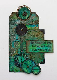 Time Tag - embossing + Tim Holtz Sizzix dies + Paper Artsy's Treasured Gold  (Marjie Kemper) http://www.marjiekemper.com/time-tag