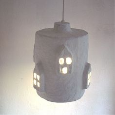 Paper Mache City Lights by Paper Moon Factory Plug In Pendant Light, Paper Mache Clay, Papercrete, Recycled Magazines, Ceramic Light, Paper Moon, White Chalk Paint, Bedroom Lamps, Led Lampe