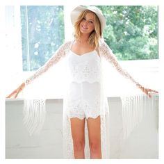 Boho love! The gorgeous 'Huntress Lace Fringed Cape' is beautiful! Perfect to pair with maxi dresses! Shop it ON SALE for $35 at shop.stfrock.com.au #stfrock #lace #cape #white