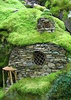 EMERALD MOSS HOUSE by Environmental art and Faerie Houses sculptures created by Sally J Smith. 11 x 14 print $48 + ship
