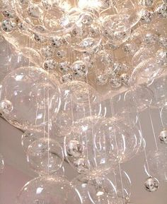 DIY Tutorial - This bubble chandelier would be magical over a huge soaking tub . like the bubble bath escaped and floated away . or even used in Wedding decorations. Bubble Chandelier, Glass Chandelier, Chandeliers, Chandelier Lighting, Loft Lighting, Chandelier Ideas, Unique Lighting, Modern Chandelier, Lighting Ideas