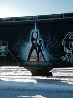 Boxcar, Train Art, Rail Car, Graffiti Art, Fantasy Characters, Murals, Trains, Street Art, Darth Vader