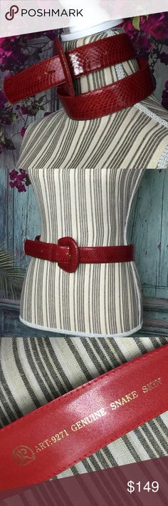 Spotted while shopping on Poshmark: 💐 Genuine Snakeskin signed designer belt  Crimson! #poshmark #fashion #shopping #style #Accessories