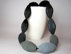 Ombré Necklace with HUGE beads:  Shades of Gray - Statement Necklace  at PaperStatment shop on etsy