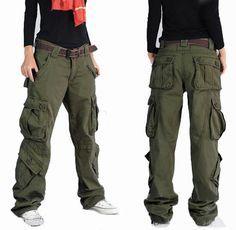 Free Shipping Women's Brand hip hop hiphop pants cargo dance pants overalls skateboard Baggy Trousers $43.69 - 46.00