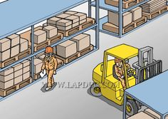 #ForkliftAccident Case 19 An operator worker is backing up a lift truck to make a 90-degree turn after loading in a parts warehouse. Meanwhile another worker A is walking along the isle. He heard the backup buzzer sound to tell a lift truck was backing up, but he thinks it is still far away and keeps walking, taking little heed to the movement of the lift truck. Can you predict what's about to happen? #ForkliftAccessories #GoodToKnow