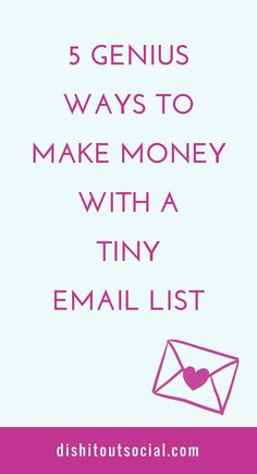 Got a small email list? Did you know you can make money online even with a tiny email list? You can with these 5 genius ways to make money from your list. Marketing Digital, Email Marketing Design, Email Marketing Campaign, Email Marketing Strategy, E-mail Marketing, Marketing Quotes, Business Marketing, Internet Marketing, Content Marketing