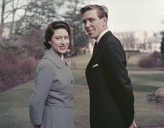 Princess Margaret (1930-2002) and fiance Antony Armstrong-Jones pictured standing in the grounds of the Royal Lodge, Windsor after announcing their engagement on 27th February 1960