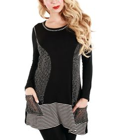Love this Black & Gray Pocket Tunic by Lily on #zulily! #zulilyfinds