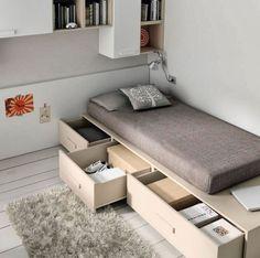 Dormitorios juveniles slang go de jjp Small Bedroom Designs, Small Room Design, Home Room Design, Small Room Bedroom, Bed Design, Home Bedroom, Home Interior Design, Bedroom Decor, Bedroom Ideas