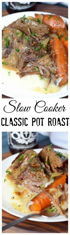 This slow cooker pot roast is so tender and moist. Ultimate comfort food!
