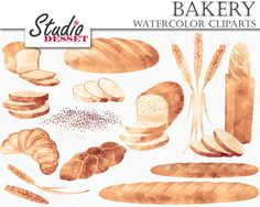 Bread Cliparts Watercolor Clipart Bakery Wheat by StudioDesset Pan Pretzel, Snack Recipes, Dessert Recipes, Snacks, Pudding In A Mug, Banana Pudding Desserts, Baguette, Bread Packaging, Food Clipart