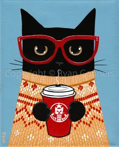 Black Cat and a Latte Original Folk Art Acrylic Painting - Animal paintings - Katzen / Cat Illustrations, Illustration Art, Folk Art Acrylic Paint, Ryan Conner, Photo Chat, Time Painting, Cat Whisperer, Cat Supplies, Animal Paintings