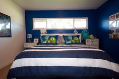 Monster's University Master bedroom with Cal King bed - mural to come!  pixar, disney, monsters inc.
