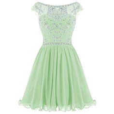 Floral Rhinestone Trim Chiffon Cocktail Dress AZBRO.COM (£23) ❤ liked on Polyvore featuring dresses, floral print dress, cap sleeve chiffon dress, slimming cocktail dresses, chiffon dresses and slimming dresses