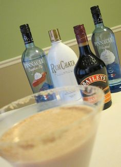 Caramel Pumpkin Pietini    2 parts Pinnacle Pumpkin Pie  1 1/2 parts Baileys Caramel  1 part Rumchata  1 part half  half  splash of Pinnacle Whipped  ice  crushed graham crackers/graham pie crust and pumpkin pie spice for garnish    Combine all the liquids and ice in a cocktail shaker and shaky shaky shaky! Crush graham crackers/graham pie crust and rim glass. Pour drink into glass and sprinkle with pumpkin pie spice.