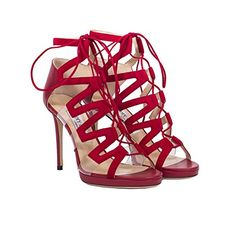 Jimmy Choo Dani 100 Suede, Nappa & Perspex Sandal In Red Red Stiletto Heels, Red High Heel Shoes, Red Stilettos, Lace Up High Heels, Lace Up Sandals, Lace Up Shoes, Shoes Sandals, Red Shoes, Heeled Sandals
