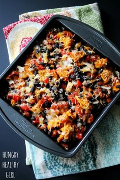 Sweet Potato Black Bean Taco Casserole. Vegetarian and hearty!