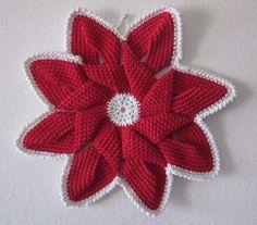 Stelle di Natale all'uncinetto - Stella di Natale rossa crochet