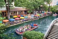 Boat tours at the river walk in San Antonio