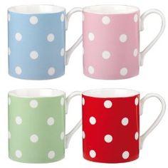 Cath Kidston Dotty Mug Larch, Set of 4: Amazon.co.uk: Kitchen & Home