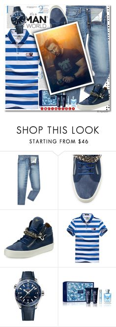 """""""Mark Wahlberg"""" by octobermaze ❤ liked on Polyvore featuring PAM, Levi's, Giuseppe Zanotti, OMEGA, Versace, men's fashion, menswear and MARKWAHLBERG"""