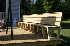 Deck Bench Plans Picture...no plans but the base is 2x4 with 2x6 seat and back