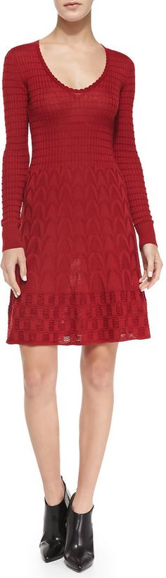 $595, M Missoni M Missoni Long Sleeve Knit Fit And Flare Dress. Sold by Neiman Marcus.