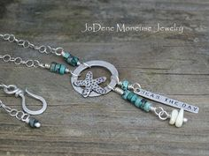 Seas the day necklace, sterling silver and turquoise starfish necklace $80.00 Handmade by JoDeneMoneuseJewelry