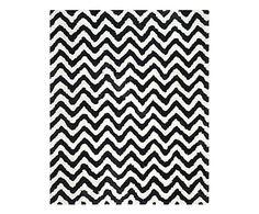 Tappeto in cotone e poliestere Delhi bianco/nero, 60x5x91 cm